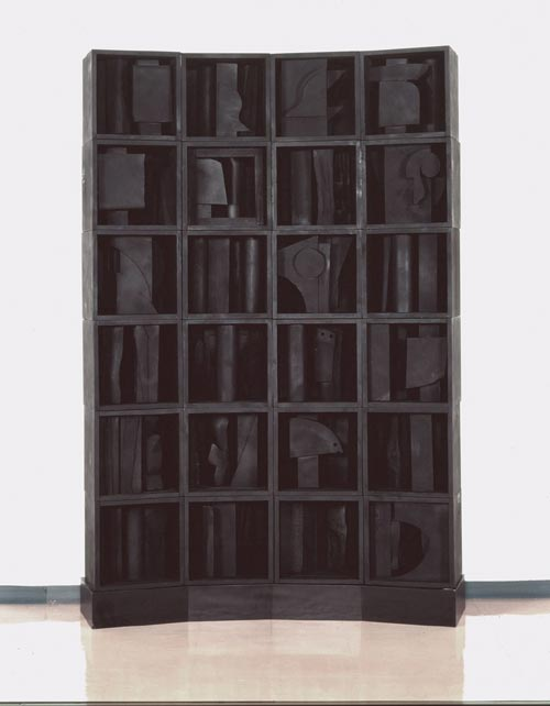 Louise Nevelson, <em>Self-Portrait: Silent Music IV</em>, 1964, wood painted black, 90 x 65 ½ x 18 in. (229 x 166.5 x 46 cm).  Hyogo Prefectural Museum of Art, Japan. © Estate of Louise Nevelson / Artists Rights Society (ARS), New York.