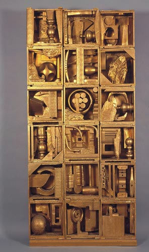 Louise Nevelson, <em>Royal Tide I</em>, 1960, painted wood, 86 x 40 x 8 inches. Collection of Peter and Beverly Lipman. © Estate of Louise Nevelson / Artists Rights Society (ARS), New York. Photo by Sheldan C. Collins.