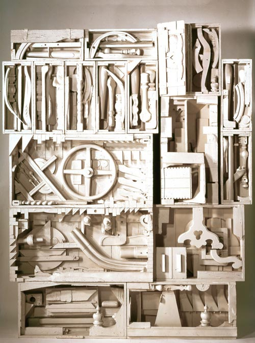 Louise Nevelson, <em>Dawn's Wedding Chapel IV</em>, from <em>Dawn's Wedding Feast</em>, 1959-60, painted wood, 109 x 87 x 13 ½ inches. Courtesy PaceWildenstein, New York. © Estate of Louise Nevelson / Artists Rights Society (ARS), New York.