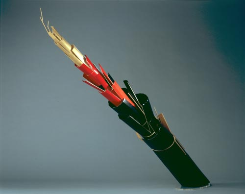 Ikeda Iwao (b. 1940) <em>Destruction and Creation</em>, 2006. Bamboo, red and black lacquer, and gold powder, approximately 39 x 71 in. Collection of the artist. Photo: Katsuhiko Ushiro.