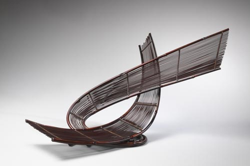Honma Hideaki (b. 1959) <em>Double Swirling Winds</em>, 2003. Bamboo, 29 3/4 x 12 x 14 1/2 in. Mr. and Mrs. Charles Diker. Photo: Richard P. Goodbody.