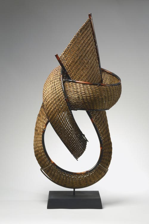 Honma Hideaki (b. 1959) <em>Knot III</em>, 2006. Bamboo, 34 x 15 x 11 in. Collection of Betsy and Edward Cohen. Photo: Richard P. Goodbody.