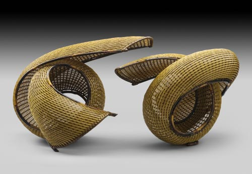 Honma Hideaki (b. 1959) Left: <em>Rolling Shape II</em>, 2007. Bamboo, 14 1/2 x 22 x 11 in. Right: <em>Play</em>, 2007. Bamboo, 14 1/2 x 21 x 12 in. Collection of Stanley and Mary Ann Snider. Photo: Michael Gould.