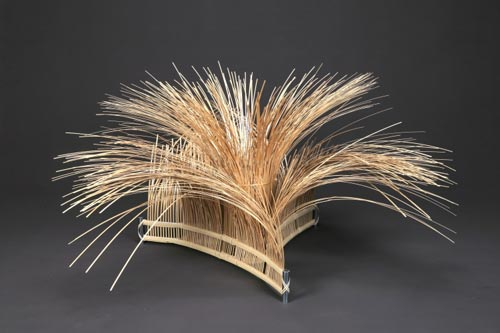Shono Tokuzo (b. 1942) <em>Illusion</em>, 2007. Bamboo and steel, 27 1/2 x 51 1/4 x 51 1/4 in. Collection of the artist. Photo: Teruhiko Osaki.