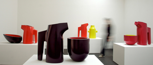 Nicholas Rena. Pieces on display at Jerwood Contemporary Makers Exhibition. Ceramic. Photograph: Phil Sayer.