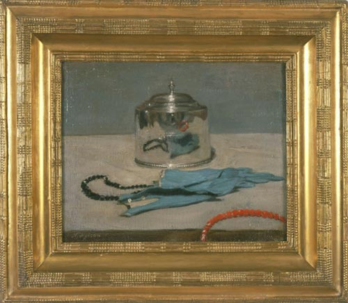 Sir William Nicholson. <em>The Silver Casket</em>, 1919. Oil on canvas, 13 x 16 inches (33 x 40.5 cm). Copyright Elizabeth Banks. Courtesy of PaulKasmin Gallery, New York and Private Collection.