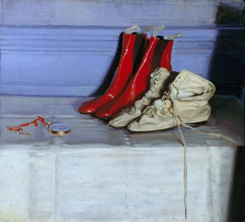 Sir William Nicholson. <em>Miss Simpson's Boots</em>, 1919. Oil on canvas 21 1/2 x 23 1/2 inches (54.6 x 59.7 cm). Copyright Elizabeth Banks. Courtesy of PaulKasmin Gallery, New York and Private Collection.