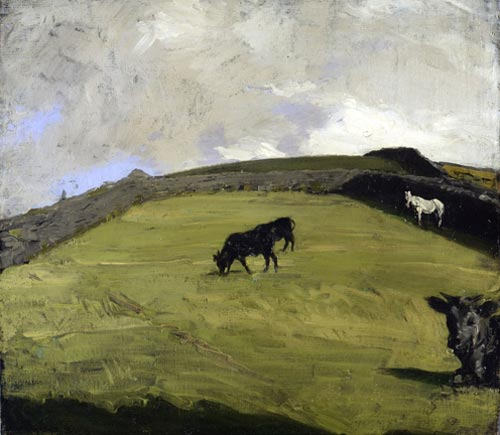 Sir William Nicholson. <em>Cattle and a White Horse at Pasture</em>, 1918. Oil on canvas 20 1/2 x 22 1/2 inches (53 x 61 cm). Copyright Elizabeth Banks Courtesy of PaulKasmin Gallery, New York and Private Collection.