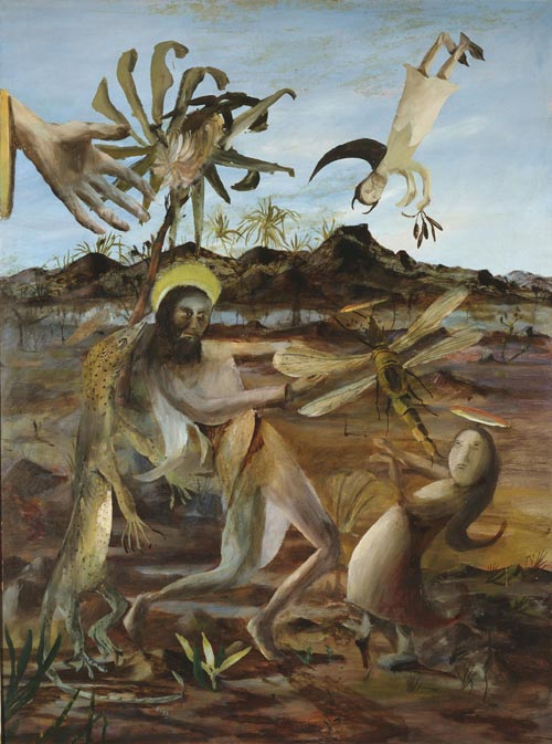 Sidney Nolan. <em>Temptation of St Anthony,</em> 1952. Oil and enamel on hardboard, 121.8 x 91.3 cm. Collection National Gallery of Victoria, Melbourne. © The Trustees of the Sidney Nolan Trust