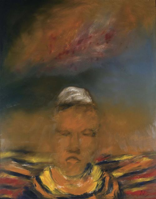 Sidney Nolan. <em>Head of Rimbaud,</em> 1963. Oil on hardboard, 152 x 121 cm. Private collection. © The Trustees of the Sidney Nolan Trust