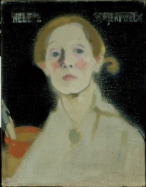 Helene Schjerfbeck, <i>Self-portrait, black background</i>, 1915. Ateneum 