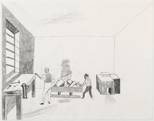 Jockum Nordström. Wine and Bread, 2014. Graphite on paper, 16 3/8 x 20 3/4 in (41.5 x 52.5 cm). Courtesy David Zwirner, New York/London.
