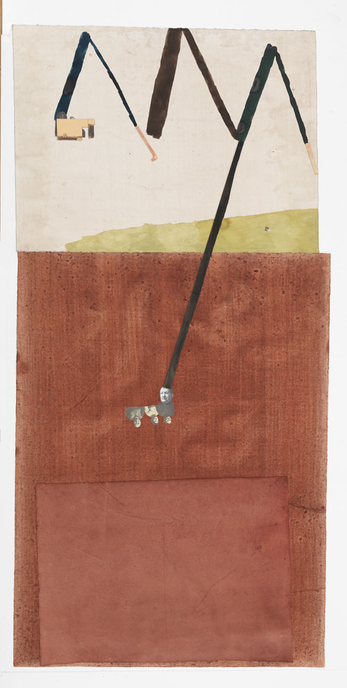 Jockum Nordström. Diktonius, 2014. Watercolour, graphite, and collage on paper, 63 3/4 x 31 1/8 in (162 x 79 cm). Courtesy David Zwirner, New York/London.