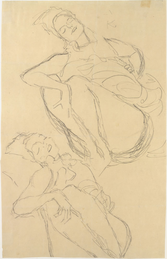 Gustav Klimt. Two Studies for a Crouching Woman, 1914–15. Graphite on paper. Sheet: 21 1/2 × 13 7/8 in (54.6 × 35.2 cm). The Metropolitan Museum of Art, Bequest of Scofield Thayer, 1982.