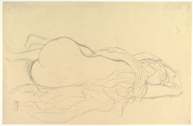 Gustav Klimt. Reclining Nude with Drapery, Back View, 1917–1918. Graphite, 14 5/8 x 22 3/8 in (37.1 x 56.8 cm). The Metropolitan Museum of Art, Bequest of Scofield Thayer, 1982.