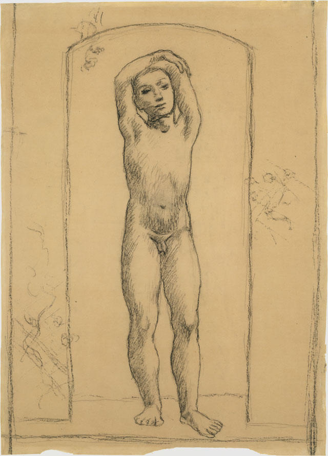 Pablo Picasso. Youth in an Archway, 1906. Conté crayon on paper, 23 1/4 x 16 3/4 in (59.1 x 42.5 cm). The Metropolitan Museum of Art, Bequest of Scofield Thayer, 1982. © 2018 Estate of Pablo Picasso / Artists Rights Society (ARS), New York.