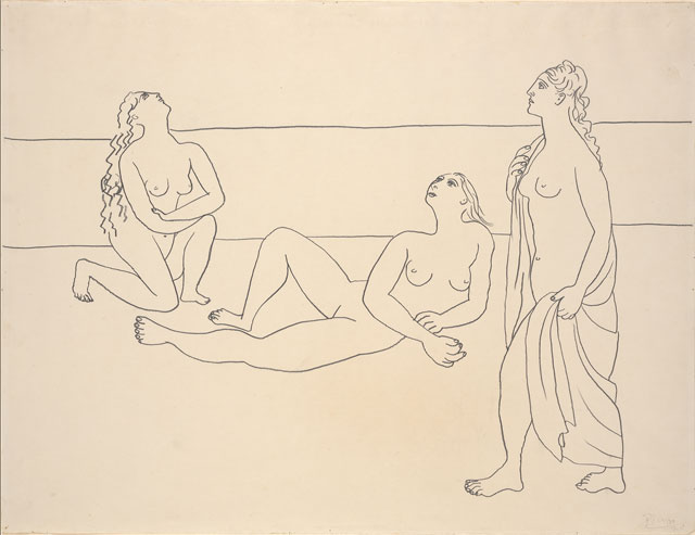 Pablo Picasso. Three Bathers by the Shore, 1920. Graphite on paper, 19 3/8 x 25 1/4 in (49.2 x 64.1 cm). The Metropolitan Museum of Art, Bequest of Scofield Thayer, 1982. © 2018 Estate of Pablo Picasso / Artists Rights Society (ARS), New York.