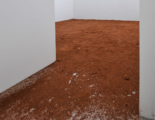 Lydia Ourahmane. p.H 8.7, 2015. Fertile soil smuggled from Medea, Algeria. Installation view Ellis King, Dublin, 2015. Courtesy the artist.