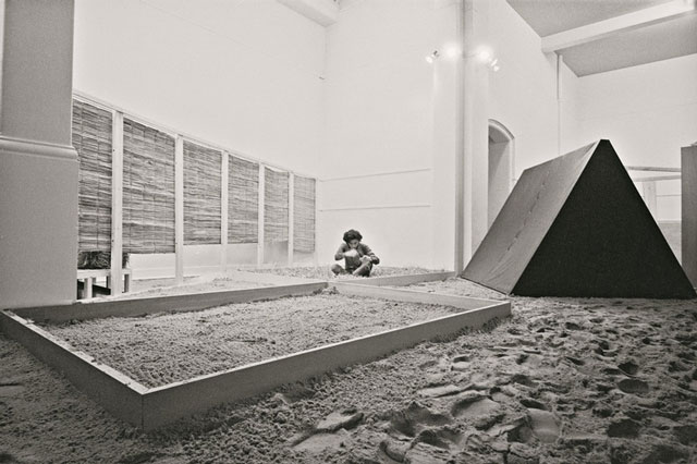 Hélio Oiticica (1937–1980), installation view of Eden (1969) at Whitechapel Gallery, London, 1969. Sand, crushed bricks, dry leaves, water, cushions, foam flakes, books, magazines, Dzpulp fiction, dz straw, matting, and incense, 68 ft. 10 3/4 in. ×  49 ft. 2 1/2 in. ×  11 ft. 5 3/4 in. (21 ×  15 ×  3.5 m). Collection of César and Claudio Oiticica. © César and Claudio Oiticica.