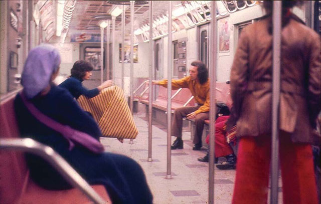 Parangolé Cape 30 in the New York City Subway, 1972. Digital projection, dimensions variable. Courtesy of César and Claudio Oiticica, Rio de Janeiro