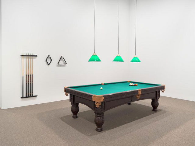Hélio Oiticica. Installation view.  Appropriation—Snooker Room, after Van Gogh's Night Café (Apropriação—Mesa de bilhar, d'aprés O Café Noturno de Van Gogh), 1966. Installation with billard table, wall rack and accessories. Exhibition copy from the César and Claudio Oiticica Collection, Rio de Janeiro. Photograph by Ron Amstutz