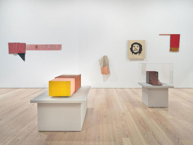 Installation view of  Hélio Oiticica: To Organise Delirium  (Whitney Museum of American Art, New York, July 14–October 1, 2017). From left to right, top to bottom: P11 Parangolé Cape 7, Sex and Violence, That's What I Like (P11 Parangolé capa 7, sexo e violência, é isso que me agrada), 1966;  B16 Box Bólide 12, Archaeological (B16 Bólide caixa 12, Arqueológico), 1964-65;  P31 Parangolé Cape 24, Escrerbuto, 1972; P20 Parangolé Cape 16, Guevarcália (P20 Parangolé capa 16, Guevarcália), 1968;  B33 Box Bólide 18, Homage to Cara de Cavalo (B33 Bólide caixa 18 Homenagem á Cara de Cavalo), 1965-66; P2 Parangolé Flag 1 (P2 Parangolé bandeira 1), 1964. Photograph by Ron Amstutz