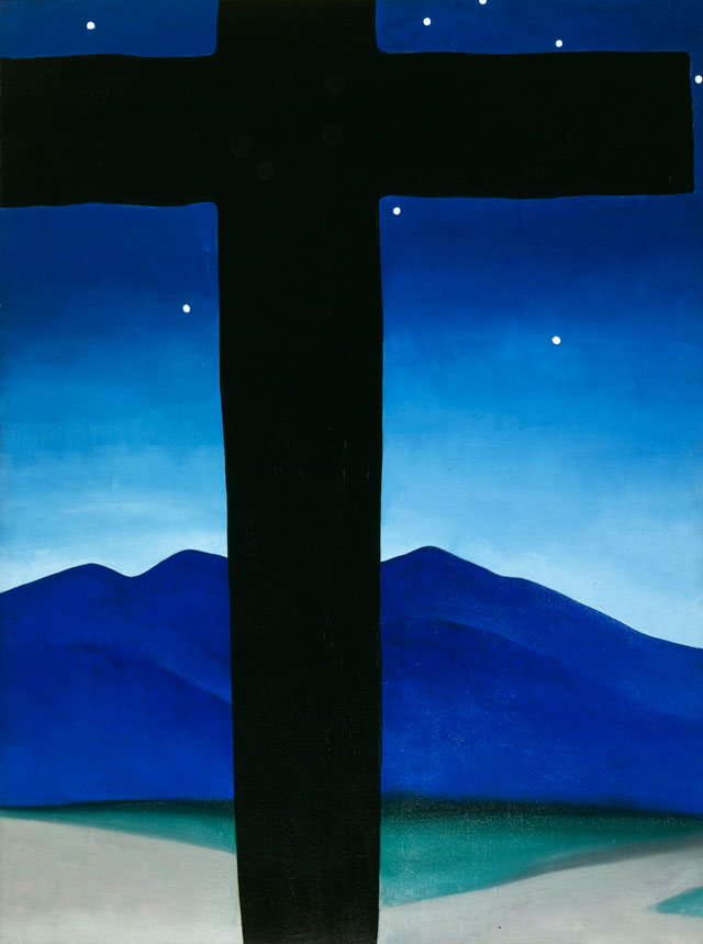 Georgia O'Keeffe. Black Cross with Stars and Blue, 1929. Oil paint on canvas, 101.6 x 76.2 cm. Private collection. © 2016 Georgia O'Keeffe Museum/ DACS, London.