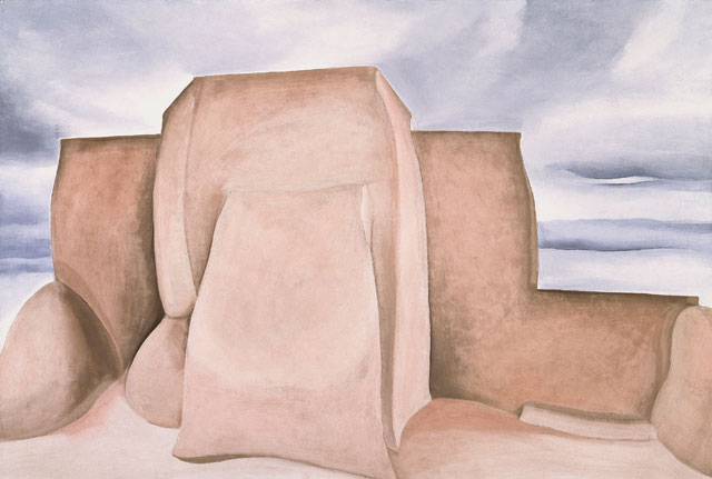 Georgia O'Keeffe. Ranchos Church, New Mexico, 1930-31. Oil paint on canvas, 62.2 x 91.4 cm. Amon Carter Museum of American Art, Fort Worth, Texas. © 2016 Georgia O'Keeffe Museum/DACS, London.