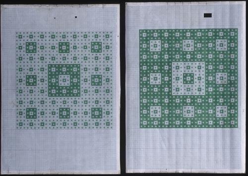 "Untitled #7, circa 2002-2005. Martin Thompson (b. 1956) Wellington, New Zealand. Pen on graph paper 15 3/4 x 22"" diptych. Courtesy of the Artist"
