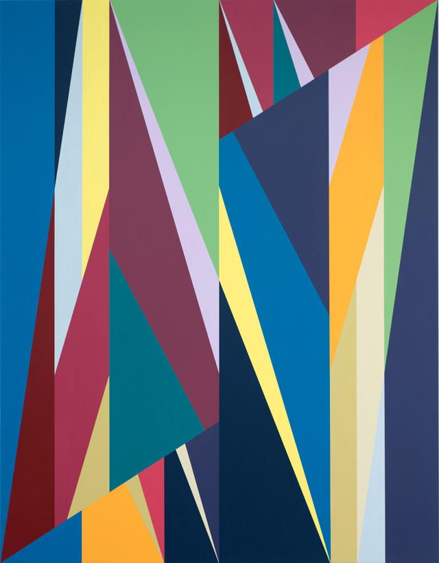 Odili Donald Odita. Other World, 2015. Acrylic on canvas, 90 x 70 in.