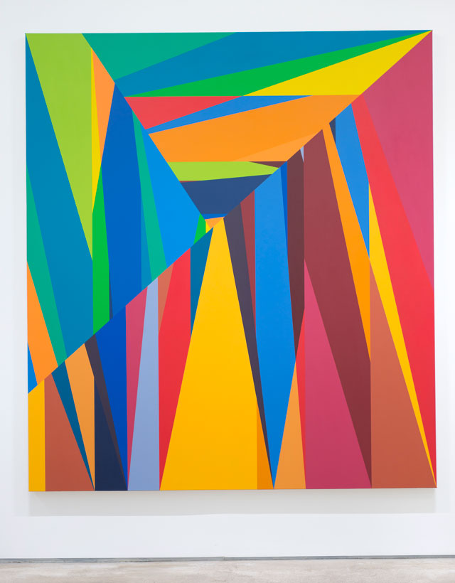 Odili Donald Odita. The Door to Revolution, 2015. Acrylic on canvas, 90 x 80 in.