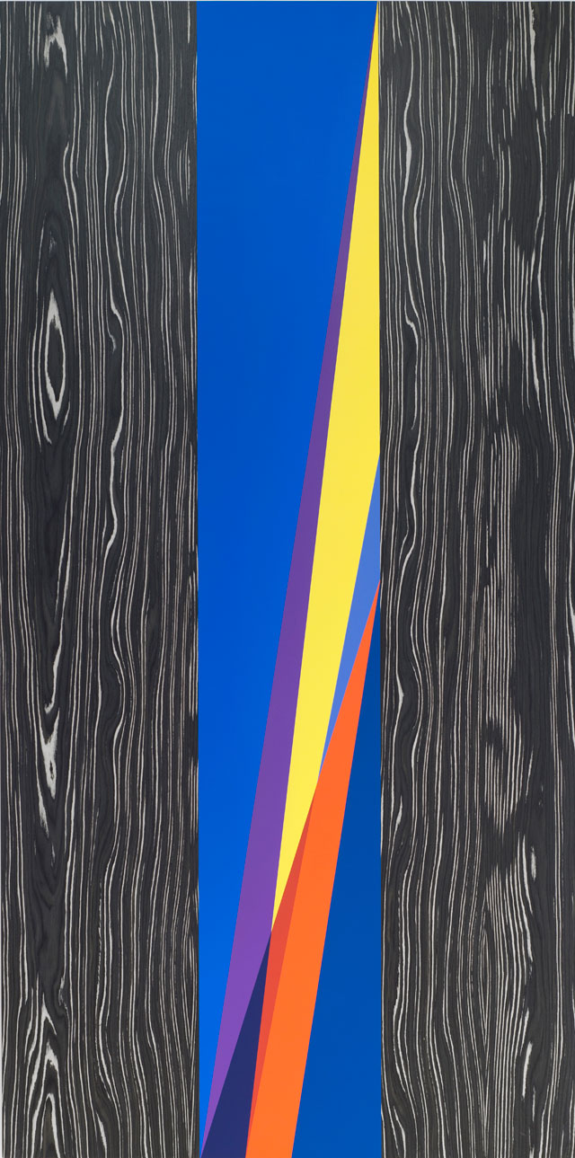 Odili Donald Odita. First Light, 2015. Acrylic latex on panel, 96 x 48 in.
