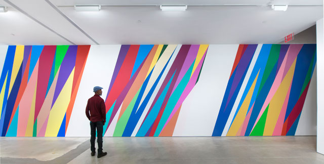Odili Donald Odita. The Velocity of Change, 2015. Acrylic latex wall paint, dimensions variable.