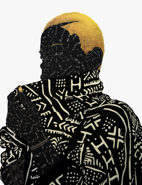 Toyin Odutola. Hold It In Your Mouth A Little Longer, 2013. Charcoal, pastel, and graphite on paper, 40 x 30 in (101.6 x 76.2 cm). © Toyin Odutola. Courtesy of the artist and Jack Shainman Gallery, New York.