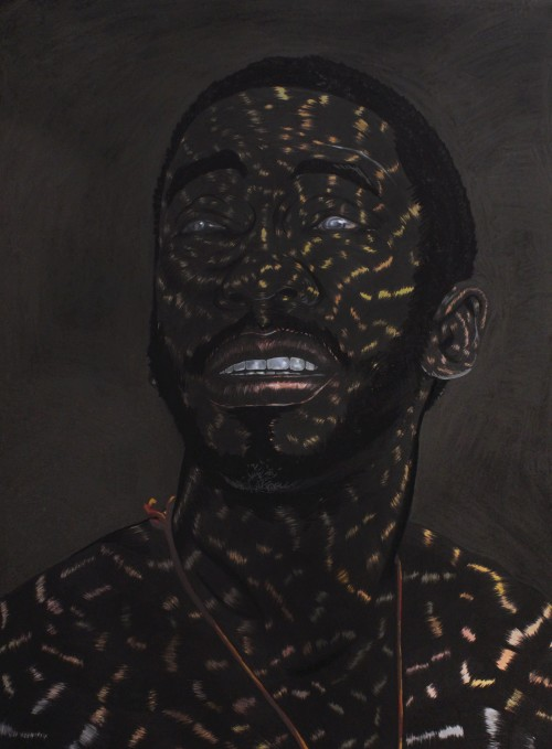 Toyin Odutola. The Last One, 2014. Charcoal, pastel, marker and graphite on paper, 40 x 30 in (101.6 x 76.2 cm). © Toyin Odutola. Courtesy of the artist and Jack Shainman Gallery, New York.
