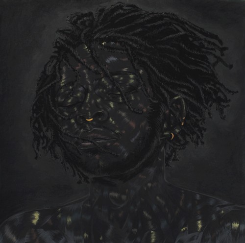 Toyin Odutola. What You Think You See, 2014. Charcoal, pastel, marker and graphite on paper. 29 1/2 x 30 in (74.9 x 76.2 cm). © Toyin Odutola. Courtesy of the artist and Jack Shainman Gallery, New York.