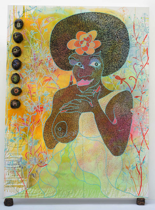 Chris Ofili. <em>Blossom</em>, 1997. Oil, polyester resin, glitter, map pins and elephant dung on linen, 243.8 x 182.8 cm. Courtesy Contemporary Fine Arts, Berlin. Photo: Jochen Littkemann.