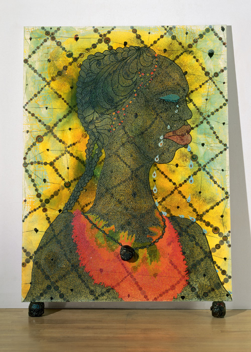 Chris Ofili. <em>No Woman, No Cry,</em> 1998. Acrylic, oil, polyester resin, pencil, paper collage, glitter, map pins and elephant dung on linen, 243.8 x 182.8 cm