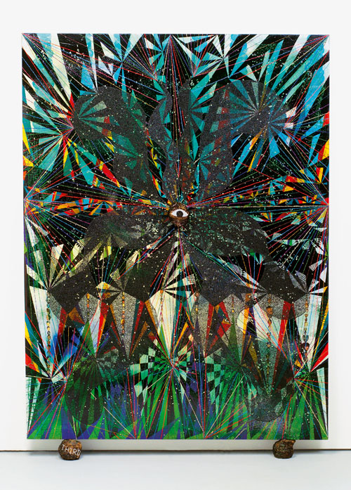 Chris Ofili. <em>Third Eye Vision,</em> 1999. Oil, acrylic, paper collage, glitter, polyester resin, map pins and elephant dung on linen, 243.8 x 182.8 cm
