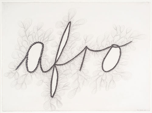 Chris Ofili. <em>Afro,</em> 2000. Pencil on paper, 56 x 76 cm. Photo: Tate.