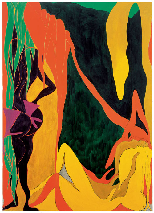 Chris Ofili. <em>The Raising of Lazarus,</em> 2007. Oil and charcoal on linen, 278.7 x 200.4 cm. Courtesy David Zwirner, New York.