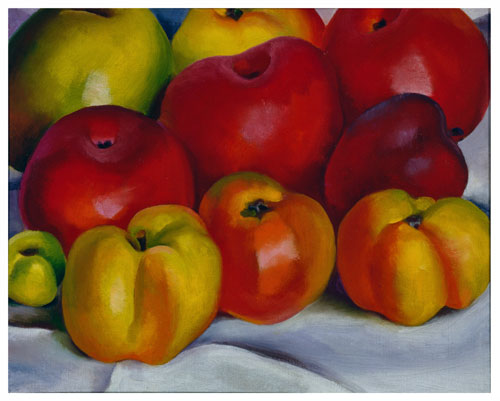 Georgia O'Keeffe, American (1887-1986). Apple Family – 2, 1920. Oil on canvas, 8 1/8 x 10 1/8 in. Georgia O'Keeffe Museum. Gift of the Burnett Foundation and The Georgia O'Keeffe Foundation. © Georgia O'Keeffe Museum/Artists Rights Society (ARS), New York. Photograph: Malcolm Varon, 2001.