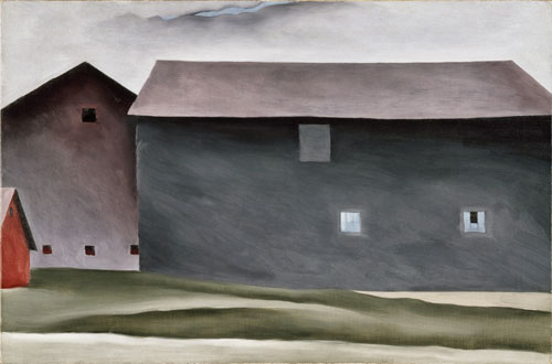 Georgia O'Keeffe, American (1887-1986). Lake George Barns, 1926. Oil on canvas, 21 3/16 x 32 1/16 in. Collection Walker Art Center, Minneapolis. Gift of the T. B. Walker Foundation, 1954. © Georgia O'Keeffe Museum/Artists Rights Society (ARS), New York.