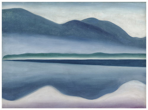 Georgia O'Keeffe, American (1887-1986). Lake George, 1922. Oil on canvas, 16 1/4 x 22 in. San Francisco Museum of Modern Art, Gift of Charlotte Mack. © Georgia O'Keeffe Museum/Artists Rights Society (ARS), New York.