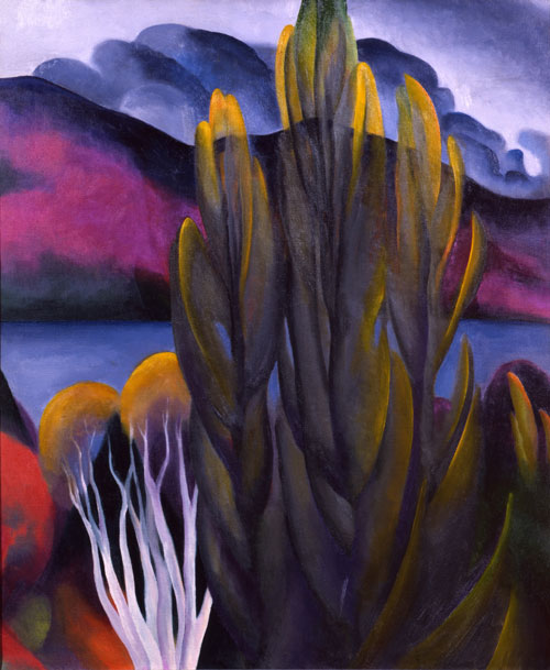 Georgia O'Keeffe. Lake George with White Birch, 1921. Oil on canvas. Private collection. © Georgia O'Keeffe Museum.