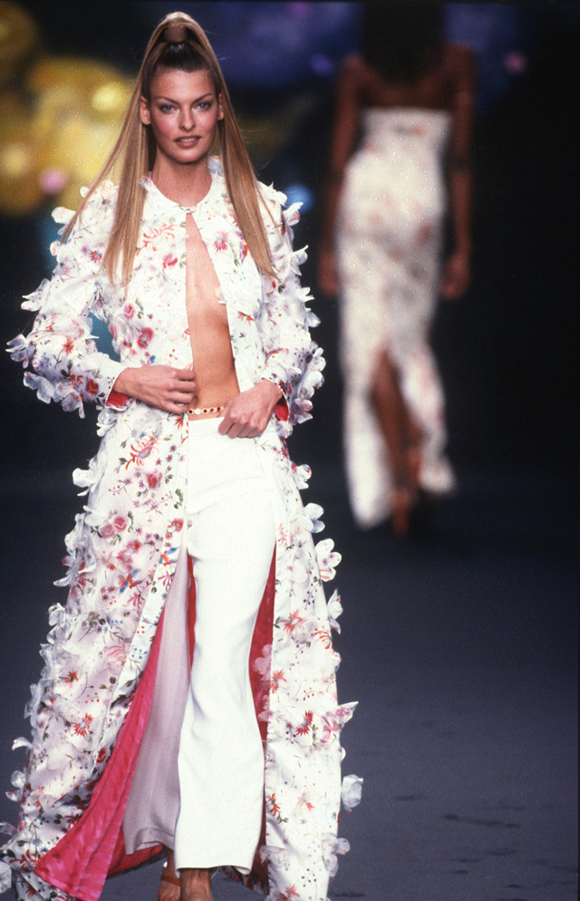 Todd Oldham runway show, Fluttering Flower Ensemble (coat), Spring 1997. Photograph: Dan Lecca. Courtesy of the Todd Oldham Studio.