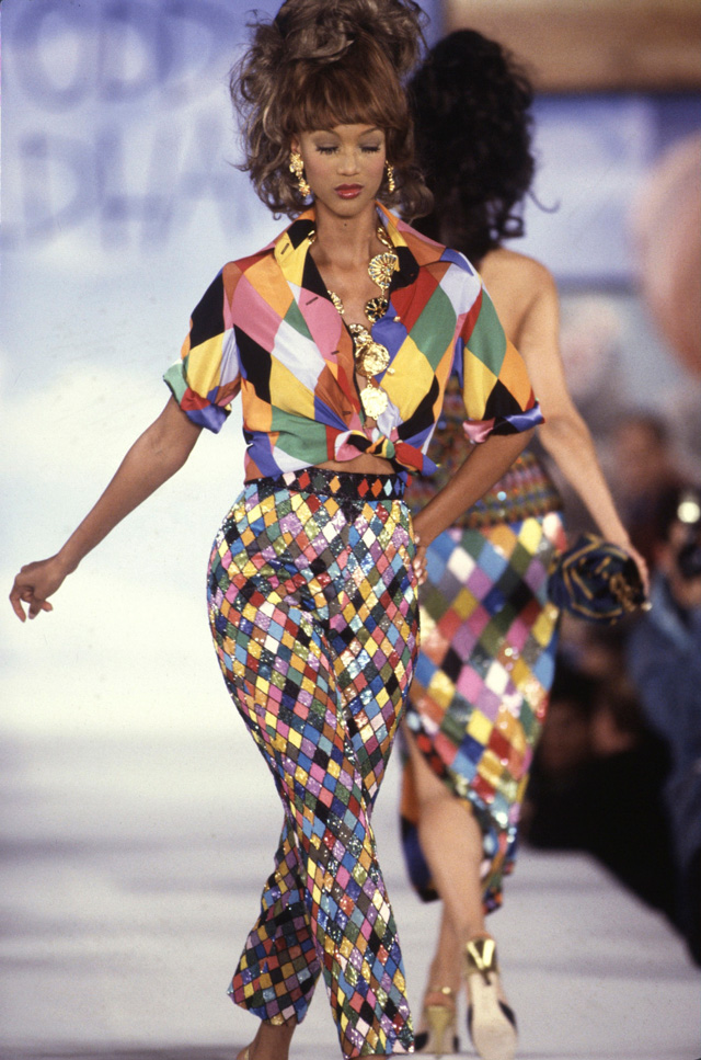 Todd Oldham runway show, Ringmaster Ensemble, Spring 1993. Photograph: Dan Lecca. Courtesy of the Todd Oldham Studio.