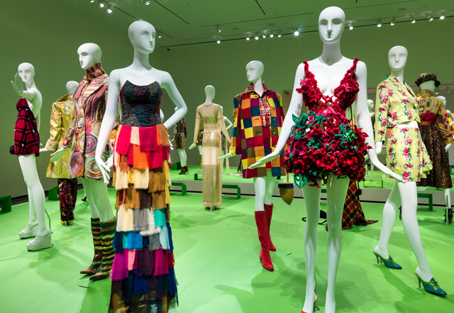 Installation view (1) of All of Everything: Todd Oldham Fashion, 8 April – 11 September 2016. Courtesy of the RISD Museum, Providence, RI.