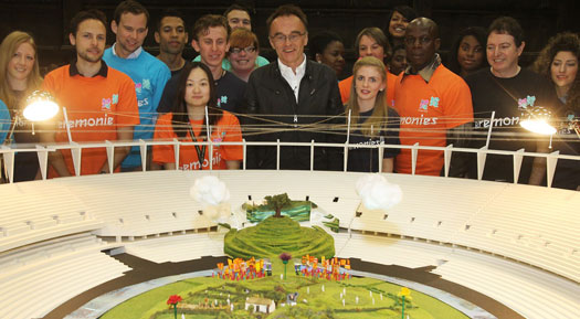 Danny Boyle and volunteers reveal the opening set for the Olympic Games Opening Ceremony. On entry to the Olympic Stadium in east London the audience will see a scene that represents a traditional and idyllic view of the British countryside.