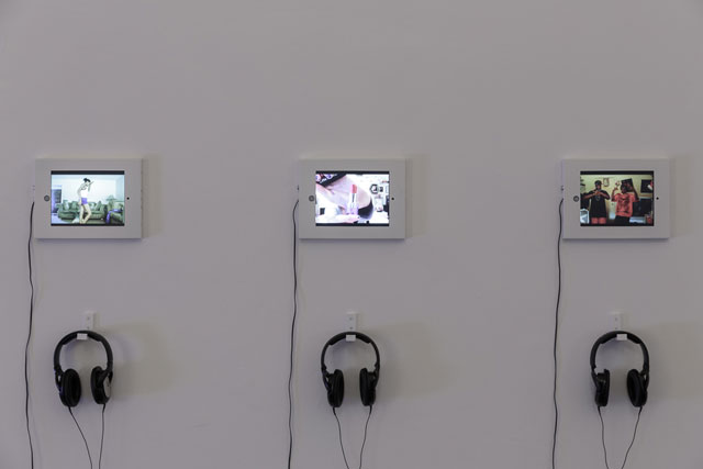 Left: Leo Gabin. Girls Room Dance, 2012. Digital video, 4:15 min. Centre: Leo Gabin. Hair Long, 2013. Digital video, 1:53 min. Right: Leo Gabin. Stackin, 2012. Digital video, 2:38 min. Photograph: Tim Bowditch .